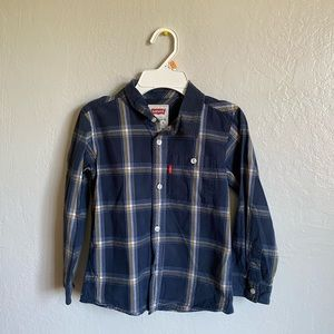 Blue button down kids shirt